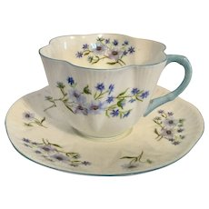 Shelley Blue Rock Cup & Saucer