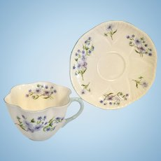 Shelley Blue Rock Cup & Saucer as-is