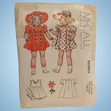 "McCall's Pattern Small Sample 22"" Doll"
