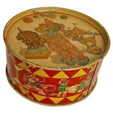Tin Litho Child's Drum Clown, Toys, Sports