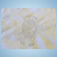 Appenzell Round Tablecloth Swiss Figural Embroidery