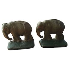 Pair of Vintage Cast Iron Elephant Bookends