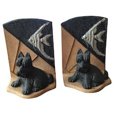 Unusual Art Deco Bookends Scottie / Scotty Dog w/ Angel Fish Metal