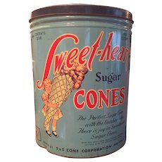 """Vintage SWEET HEART Ice Cream CONE Large Metal  Tin 15"""" Tall Advertising NYC 1930s-40s"""