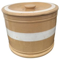Large Early Yellowware Butter Crock w/ Lid Wide White Band 19th Century