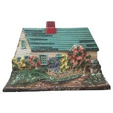 Vintage Cast Iron Cottage / House Door Stop Doorstop Turqouise Roof Great Original Paint