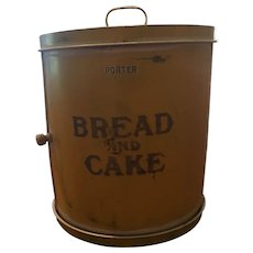 Yellow & White Roll Front Tole Painted Bread & Cake Box / Bin
