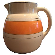 Large 1920s Roseville Utility Pitcher Creamware / Like Juvenile Wear Orange Band