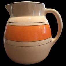 Large 1920s Roseville Utility Pitcher Creamware / Like Juvenile Wear Orange Band