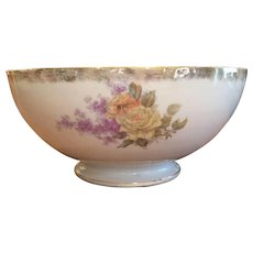 Huge 19th Century Ironstone Punch Bowl Roses Lilacs