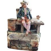 Antique Majolica Match Holder / Striker / Cigarettes / Smoke Set Man & Dog on Bench