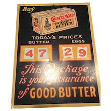 Vintage Country Maid Egg And Butter Changing Price Cardboard Store Display Sign  Degraff Creamery Ohio