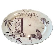 Aesthetic Brown Transfer / Transferware  Platter Powell Bishop & Stonier Oriental Ivory Paragon 1880 Rd Mark