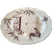 Aesthetic Brown Transfer / Transferware Well & Tree Meat Platter Powell Bishop & Stonier Oriental Ivory Paragon 1880 Rd Mark