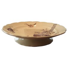 Aesthetic Brown Transfer / Transferware Low Plateau Stand Compote Powell Bishop & Stonier Oriental Ivory Paragon 1880 Rd Mark