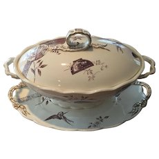 Aesthetic Brown Transfer / Transferware Large Tureen w/ Underplate Powell Bishop & Stonier Oriental Ivory Paragon 1880 Rd Mark