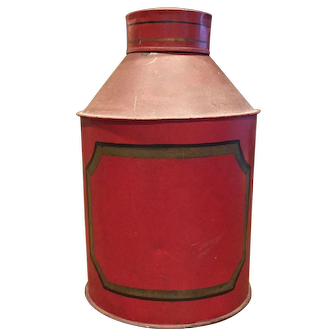 Antique Tole Toleware Large Round Spice Tin Red Great Condition