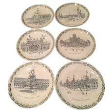 Set of 6 Antique French Plates Exposition Universelle 0f 1900 Paris  Pavilions Architecture Detailed