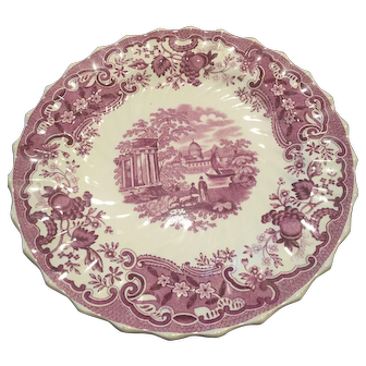 Copeland Spode 19th Century Purple Transfer Plate Ship Pavillion Palace