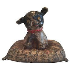 Hubley Cast Iron Bank Fido Puppy Dog on Pillow Original Paint