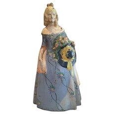 "Hard to Find Vintage  Victorian Lady Cast Iron Doorstop #47 Original Paint 11 1/2"""