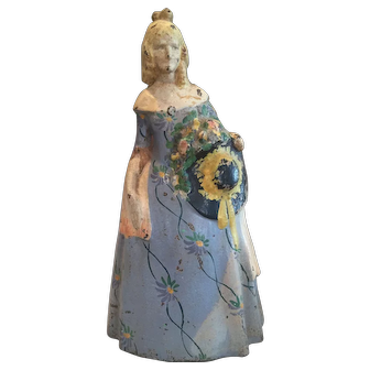 Hard to Find Vintage  Victorian Lady Cast Iron Doorstop #47 Original Paint 11 1/2""