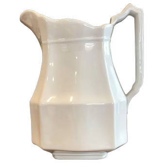 19th Century J G Meakin BLOCK OPTIC Ironstone Pitcher