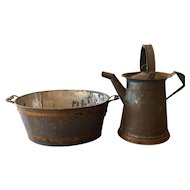 Tole / Toleware Swing Handle Pitcher & Foot Bath Blue Early / Primitive