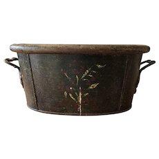 Gorgeous Primitive Metal Painted Footbath / Tub Ornate Cast Iron Handles