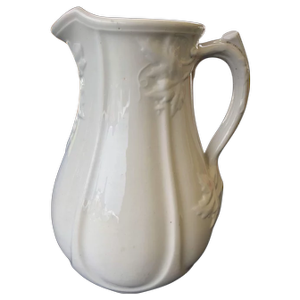 19th C England White Ironstone Pitcher Staffordshire I. Meir & Sons Panels / Leaves