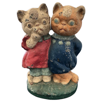 HTF Grace Drayton Twin Kittens Doorstop Original Paint Great Condition/ Patina