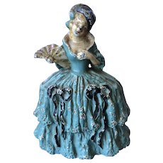 Unusual Cast Iron Lady Doorstop Southern Belle Big Skirt Fan Pat. Applied For