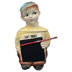 Rare American Bisque Blackboard Boy Cookie Jar Mint in Box w/ Org Slate Marker Pencil!