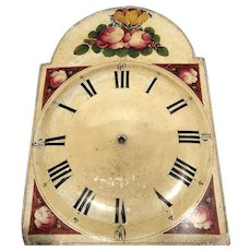 Early 19th C Grandfather Clock Face Hand Painted Roses
