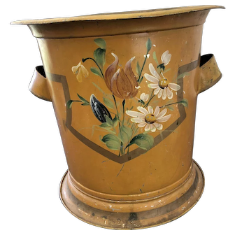 Antique Mustard Tole / Toleware Pail / Bucket w/ Lid Painted Flowers