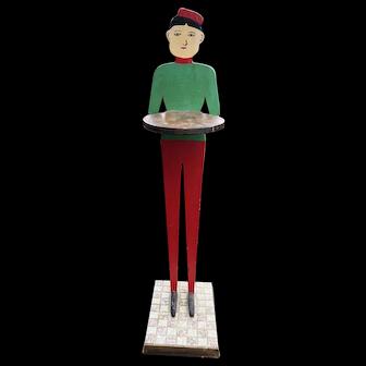 Vintage Folk Art Wood Butler / Smoke Stand Red Green Man  Hand Made Tile Base
