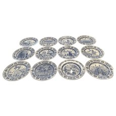 "12 Wedgwood Yale University 10 5/8"" Dinner Plates 1931 Different Scenes"