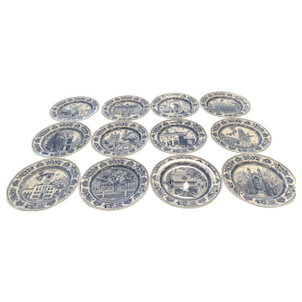 """12 Wedgwood Yale University 10 5/8"""" Dinner Plates 1931 Different Scenes"""