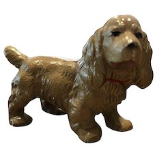 HUBLEY Iron Cocker Spaniel Dog paperweight red collar..Lovely Honey Color Great Paint