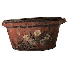 19th Century Toleware Footbath Red w/ Hand Painted Flowers
