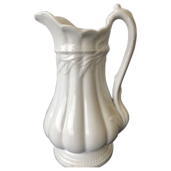 White Ironstone Pitcher Elsmore & Forster Staffordshire England 19th Century Wheat Panels Pedestal