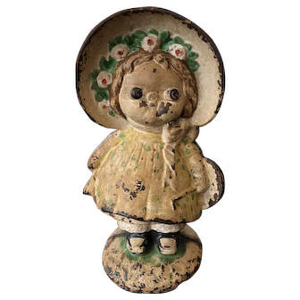 Antique Hubley Full Figure Dolly Dimple Cast Iron Doorstop Grace Drayton