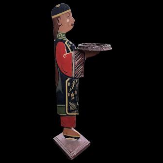 Antique Folk Art Wood Butler / Smoke Stand Asian Man Wicker Tray Hand Made
