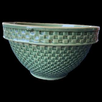 HTF McCoy Green Yellow Ware Bowl Checkerboard / Honeycomb Pattern