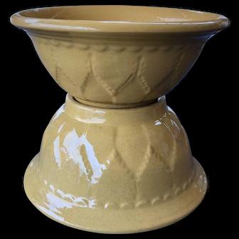 Pair 19th Century Embossed Yellow Ware / Yellowware Bowls Rolled Edge