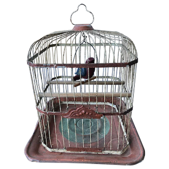 Victorian Painted Metal Bird Cage morning Red Cream Green