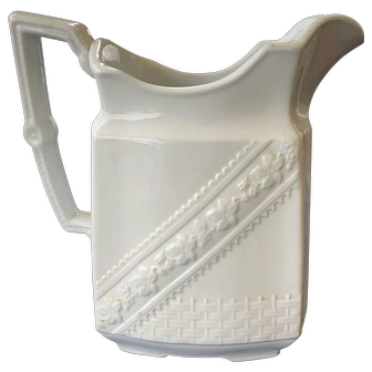 19th C England White Ironstone Table Pitcher Embossed Flower Band