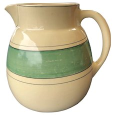 Roseville Pottery Creamware Green Band Utility Pitcher 1915-1930 Signed 7 1/2""