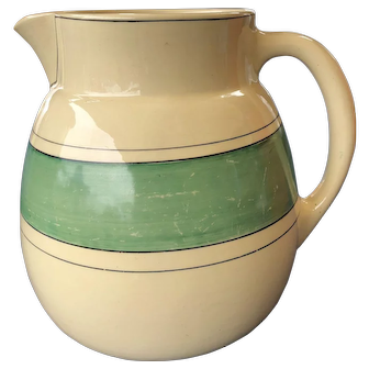 """Roseville Pottery Creamware Green Band Utility Pitcher 1915-1930 Signed 7 1/2"""""""