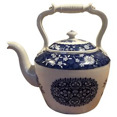 "Copeland England Blue & White ""Spode's Trophies"" Kettle / Teapot Super Size / Jumbo"